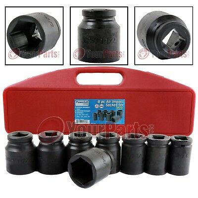 "8 Piece 3/4"" Drive Air Impact Socket Set SAE 6 Point Carry Case High Quality"