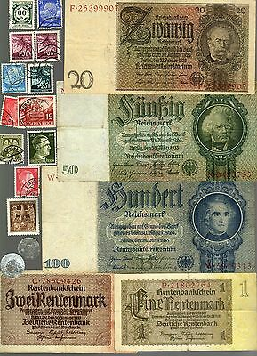 Nazi Germany Banknote, Coin And Stamp Set  # 18