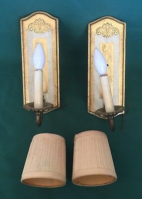 2 Vintage Italian Florentine Wall Sconce Tole Light Gold Gilt Hollywood Regency