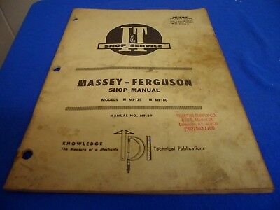 MF MASSEY FERGUSON MF175 MF180 Service Manual - $24.99 | PicClick