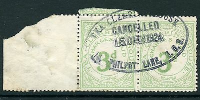 GB Great Britain REVENUE Tea Clearing House 1923 3d. pale green pair USED