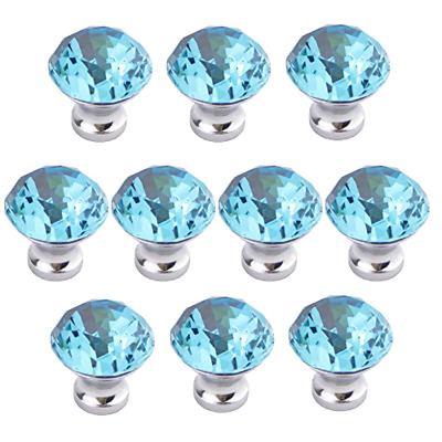 Vintage Diamond Crystal Glass Kitchen Cabinet Knobs Drawer Door Pull Handle Blue