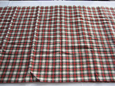"NOS Vintage Synthetic Wool Fabric Red, Black, Cream Plaid - 95"" X 58"""