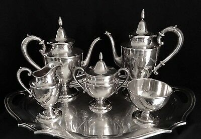 Elegant 5 Piece Wallace Sterling Silver Tea Set Reed & Barton Silver Plate Tray