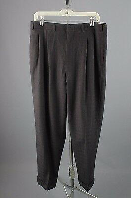 Vtg Men's 50s Wool Black Brown Drop Loop Dress Pants sz 33x29 1950s Slacks #2479