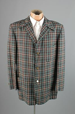 Vtg Men's 50s Brown Blue Plaid Leisure Jacket Blazer sz 40-42 Large 1950s  #2484