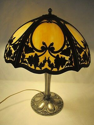 Magnificent C. 1920 Empire Of Chicago Olympian Gold Slag Glass Lamp
