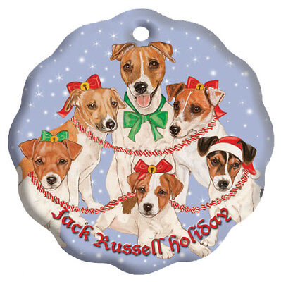 Jack Russell Terrier Holiday Porcelain Christmas Tree Ornament