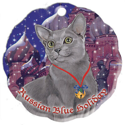 Russian Blue Cat Holiday Porcelain Christmas Tree Ornament