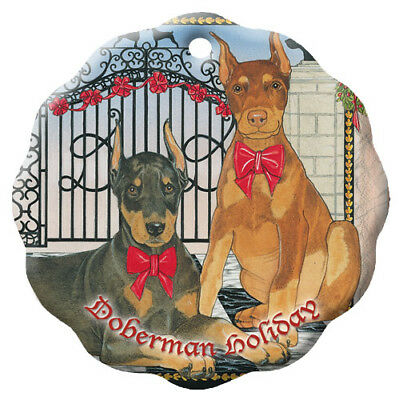 Doberman Pincher Holiday Porcelain Christmas Tree Ornament