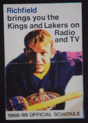 Vintage 1968-69 Los Angeles Lakers Kings NHL NBA Pocket Schedule. Richfield Oil.