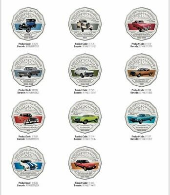 2017 RAM 50 cent unc coins - FORD classic all 11 colour coins on card IN STOCK!