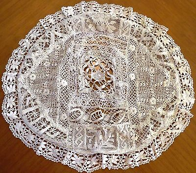 Antique Lace Pillow Cover Case Crochet Roses Cluny Filet Cream Vintage Round