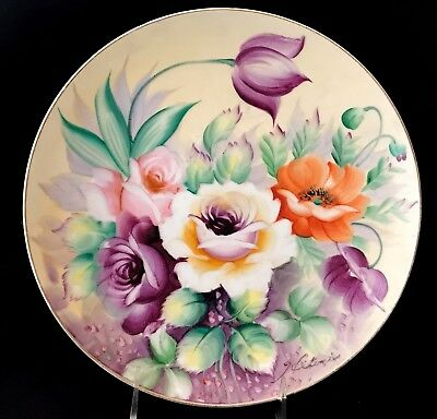 Vintage Hand Painted Violet, Yellow & Green Rose & Tulip Charger Signed Hitomi