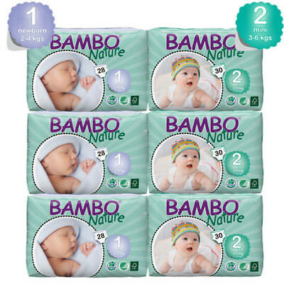 NEW Bambo Nature Eco Nappies Newborn Deal Eco Nappies ~ Bulk Buy & Save!