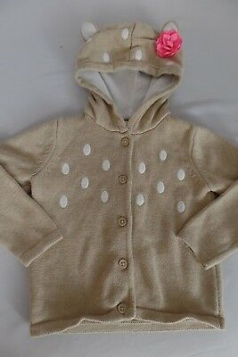 GYMBOREE Girls size 3T Hooded Baby Deer Button Front Cardigan Sweater Jacket EUC