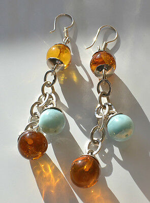 Genuine Amber & Larimar & Silver ? Tone Metal Beaded Dangle Shoulder Earrings