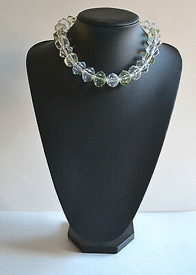 VINTAGE CHUNKY faceted TRANSLUCENT plastic BEADED COLLAR NECKLACE