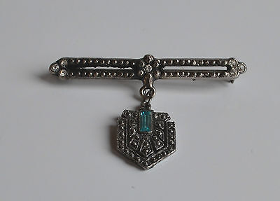 ART DECO ICE & TURQUOISE RHINESTONES DANGLE BROOCH PIN FAUX MARCASITE vintage