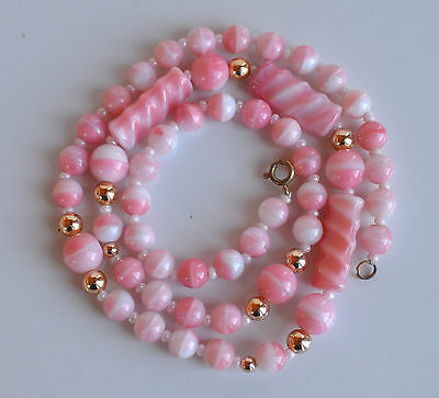 Vintage Czech or MURANO Faux Coral LATTICINO GLASS NECKLACE Pink & White  24''