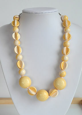 chunky VINTAGE cream yellow PLASTIC beaded NECKLACE with interesting built beads