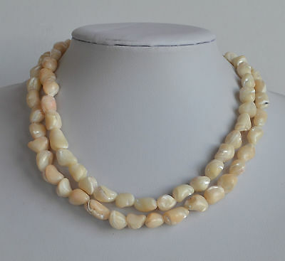 ART DECO hand made chunky Mother of Pearl NECKLACE irregular shape pinkish tone