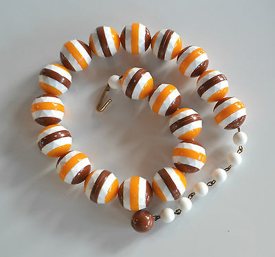 rare vintage Germany sliced faceted bead plastic necklace white yellow brown