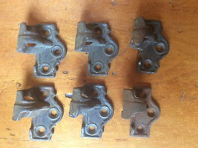 "SET OF 6 ANTIQUE CAST IRON SHUTTER HINGES, ONE SIDE ONLY, 2 1/8"" x 1 3/4"" x 1"""
