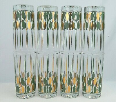 Set of 8 Mid-Century Modern Green & Gold Glasses Tumbler Set Barware VG cond.