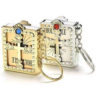 New Gift Mini Holy Bible Miniature Paper Christian Jesus Key Chain Key Ring