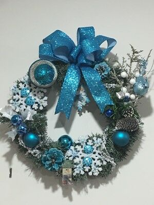 Handmade Christmas Wreath, Blue Frosty Snowman Theme