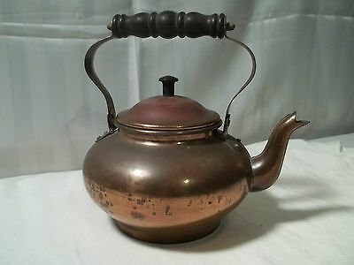 Vintage Aluminum Copper Plated Teapot Wood Handle