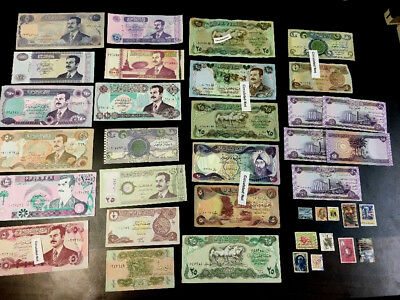 21 Banknotes Saddam Hussein Iraq  + 5 New Iraqi Note + 11 Used Stamps lots #A1