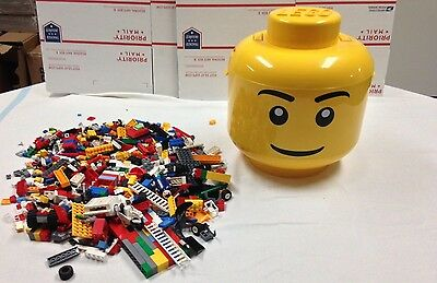 LEGO Giant Yellow Brick Storage Head With 2 Inner Trays WITH Legos Lot