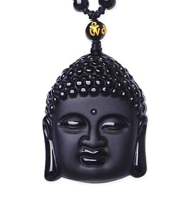 Natural Black Obsidian Hand-Carved Lucky Buddha Amulet Pendant +Beads Necklace A