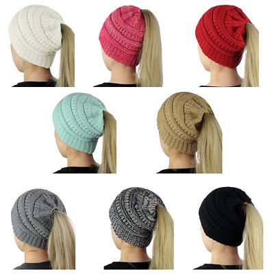 Women Winter Warm Messy High Bun Ponytail Stretchy Knitted Beanie Cap Ski Hat US
