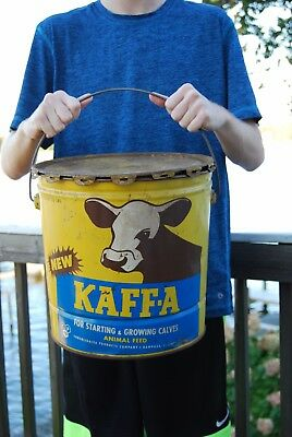 Vintage 1950s Kaffa Advertising Tin 25lbs Cow/Calf Animal Feed