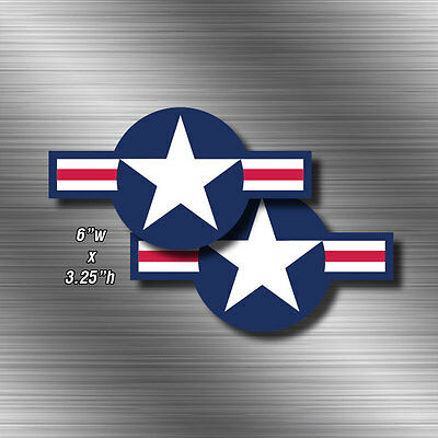 "2x USAF 6"" wide Aircraft Air Force Stickers Military Vinyl Star Decal Sticker"