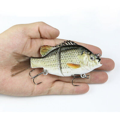 5 inch Jointed Bluegill Glider Swimbait Crankbait Bass Pike Fishing Lure Rattle
