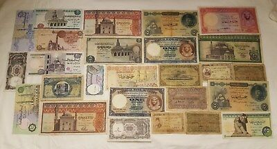 Egyptian Currency notes.  26 Very Rare Collectible Notes.  ENL. # 01