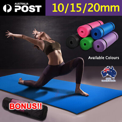 10/15/20mm Thick Yoga Mat Pad NBR Fitness Exercise Gym Pilate FREE CARRYBAG