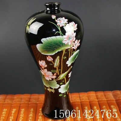 "Chinese old black porcelain ornaments ""lotus high feet"" vase"