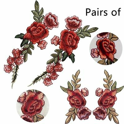 1Pair Embroidered Sew On Clothes Patches Rose Flower Applique Badge Floral Patch