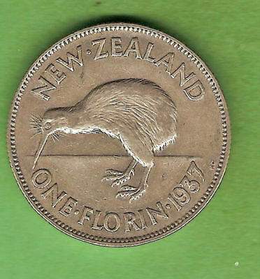 1937  New Zealand Silver Florin Two Shilling  Coin