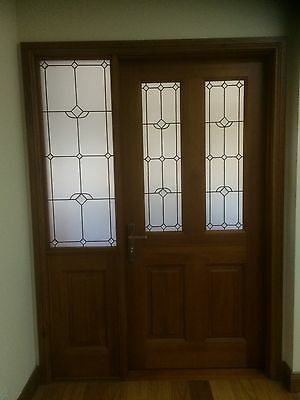 Timber Leadlight Entry Door with Left Fixed Leadlight Panel 2080H x 1450W SHD002