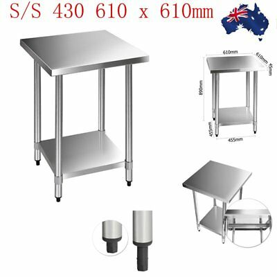 610 x 610mm Stainless Steel #430 Commercial Food Prep Work Bench Office Table