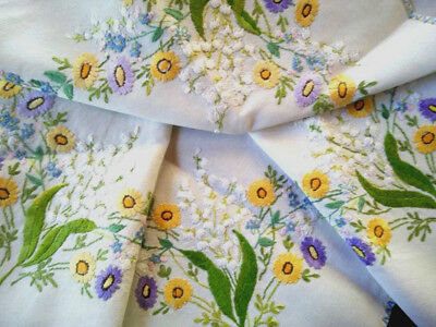 Exquisite LILY-OF-THE-VALLEY & Florals ~ Vint Raised Hand Embroidered Tablecloth