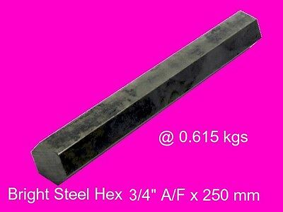 "Steel Hex  3/4"" A/F x 250 mm-Lengths-Lathe-Mill-Steam-OG"