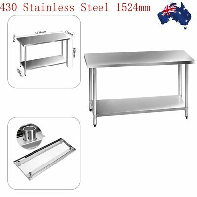 Adjustable Commercial 430 Stainless Steel Kitchen Work Bench Food Prep Table Top