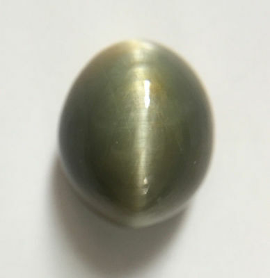 7.99 ct Natural Quartz Cats Eye Greyish Green Excellent Silver Ray Oval Shaped
